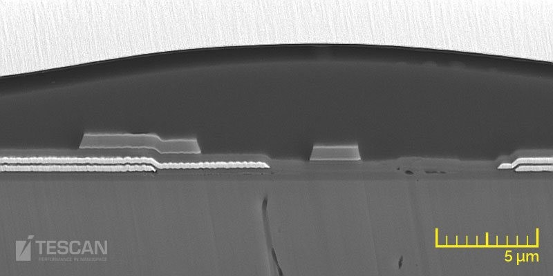 BSE image showing microstructures of the various AMOLED conductive and insulating layers