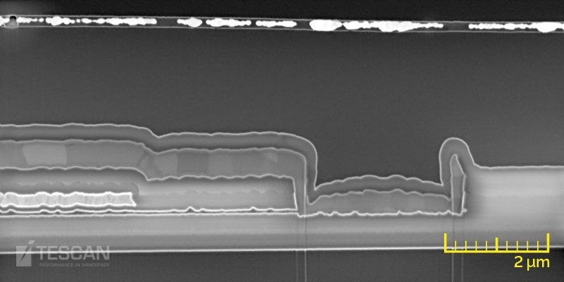 OLED display layer inspection: an underfilled layer at the top