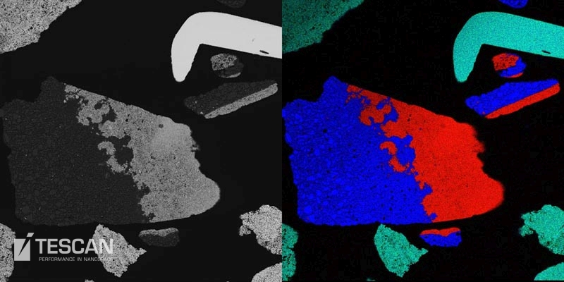 BSE image and an elemental map of tantalum rich electronic scrap