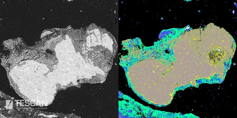 BSE image and a TIMA phase map of metallic grain rimmed by an oxide layer