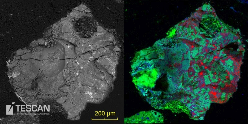 Copper rich glass particle imaged by a BSE detector and characterized by EDS