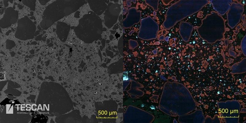 Cathodoluminiscence and BSE image of a quartz sandstone with a goethite matrix