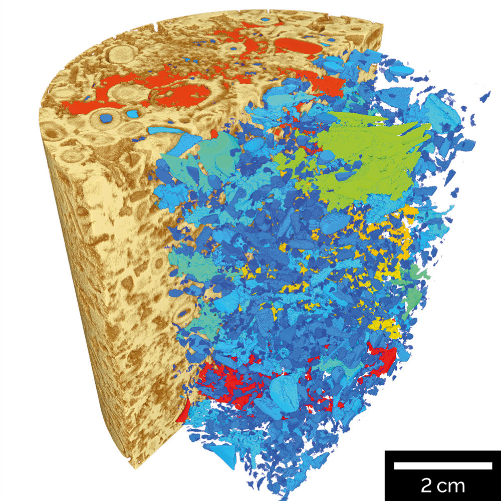 Volume of interest scan inside carbonate core